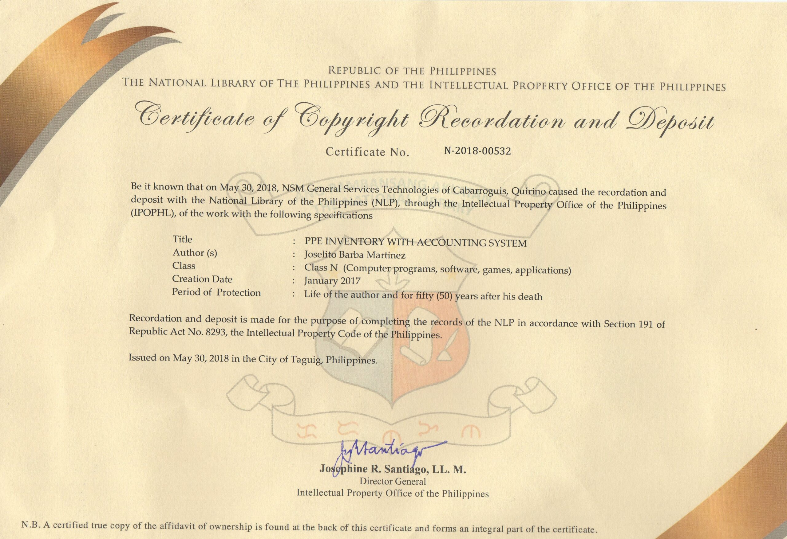 Certificate of Copyright